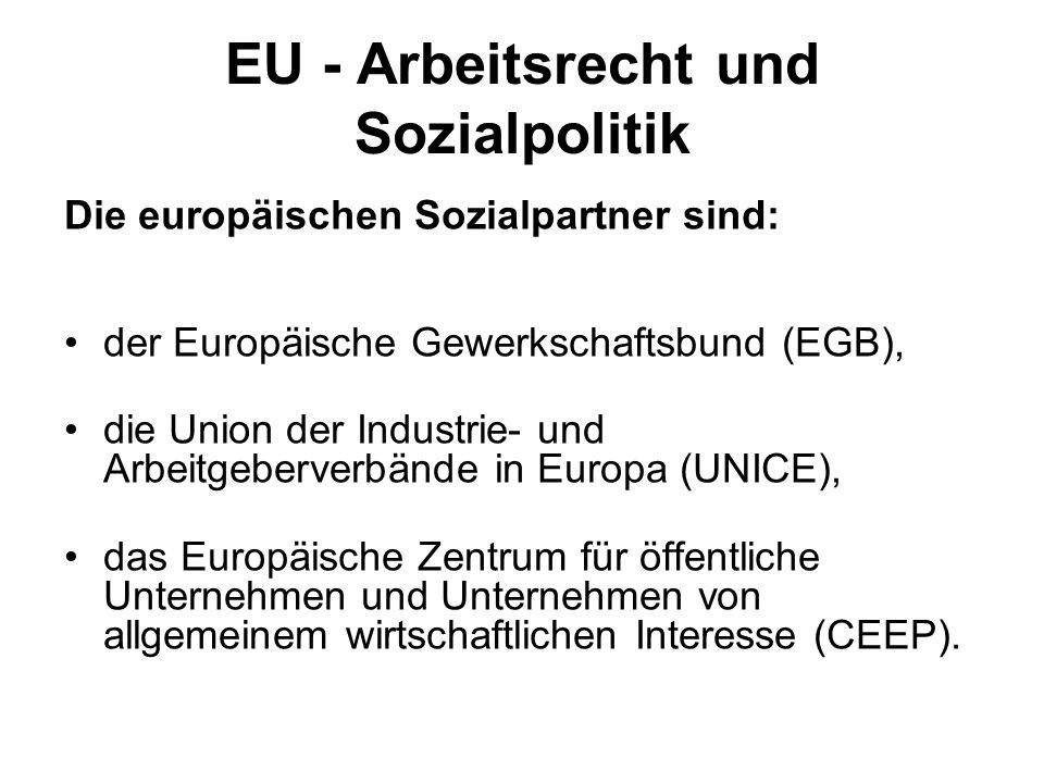 EU - Arbeitsrecht und Sozialpolitik Die europäischen Sozialpartner sind: der Europäische Gewerkschaftsbund (EGB), die Union der Industrie- und Arbeitg