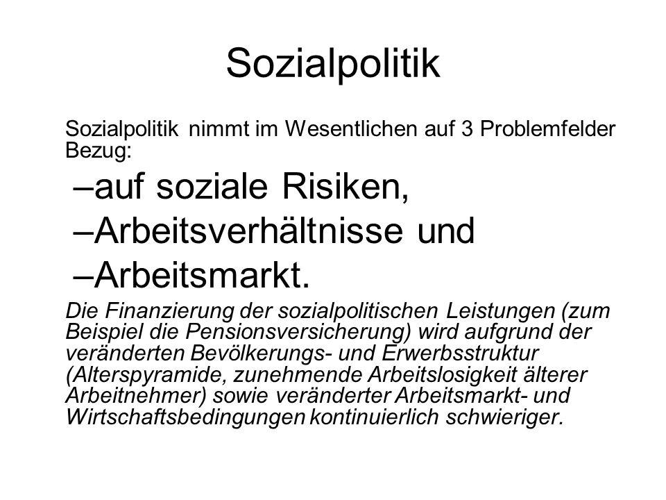Sozialpolitik Sozialpolitik nimmt im Wesentlichen auf 3 Problemfelder Bezug: –auf soziale Risiken, –Arbeitsverhältnisse und –Arbeitsmarkt. Die Finanzi