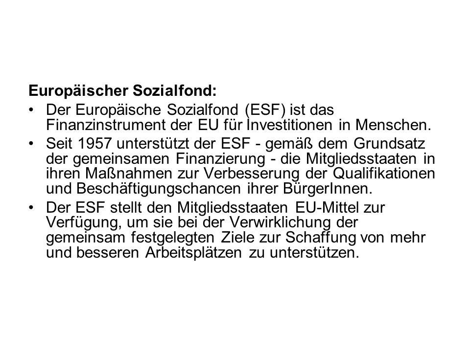 Europäischer Sozialfond: Der Europäische Sozialfond (ESF) ist das Finanzinstrument der EU für Investitionen in Menschen. Seit 1957 unterstützt der ESF