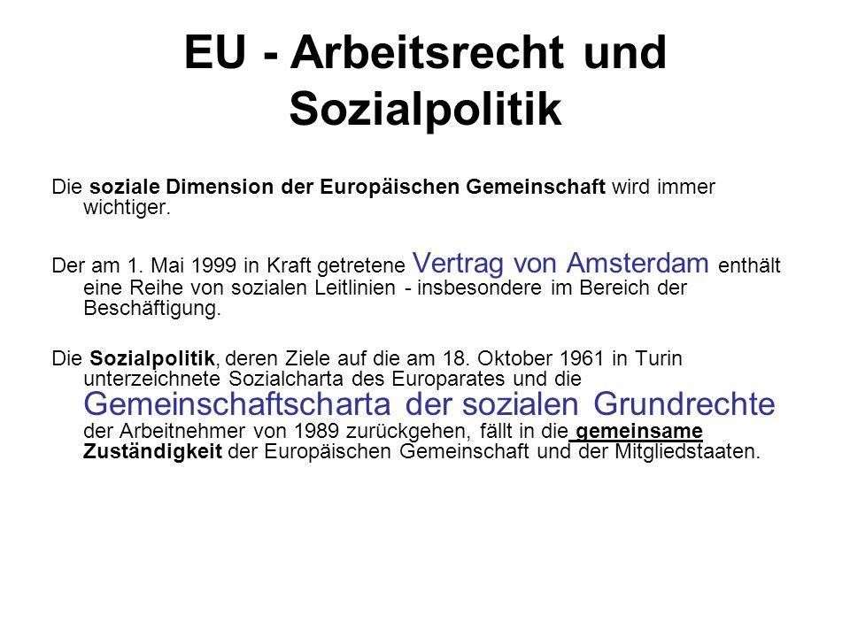 EU - Arbeitsrecht und Sozialpolitik Die soziale Dimension der Europäischen Gemeinschaft wird immer wichtiger. Der am 1. Mai 1999 in Kraft getretene Ve