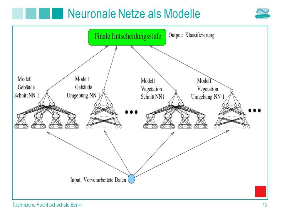 Technische Fachhochschule Berlin 12 Neuronale Netze als Modelle