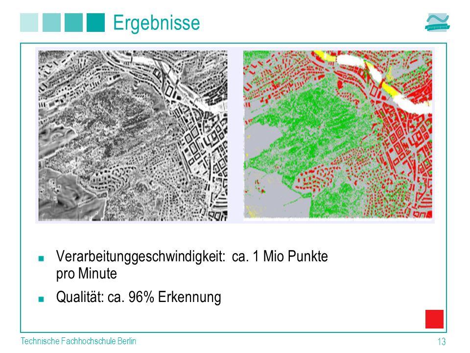 Technische Fachhochschule Berlin 13 Ergebnisse Verarbeitunggeschwindigkeit: ca. 1 Mio Punkte pro Minute Qualität: ca. 96% Erkennung