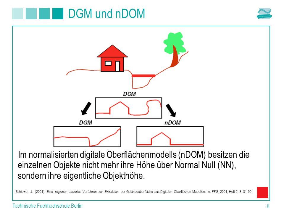 Technische Fachhochschule Berlin 8 DGM und nDOM Im normalisierten digitale Oberflächenmodells (nDOM) besitzen die einzelnen Objekte nicht mehr ihre Hö