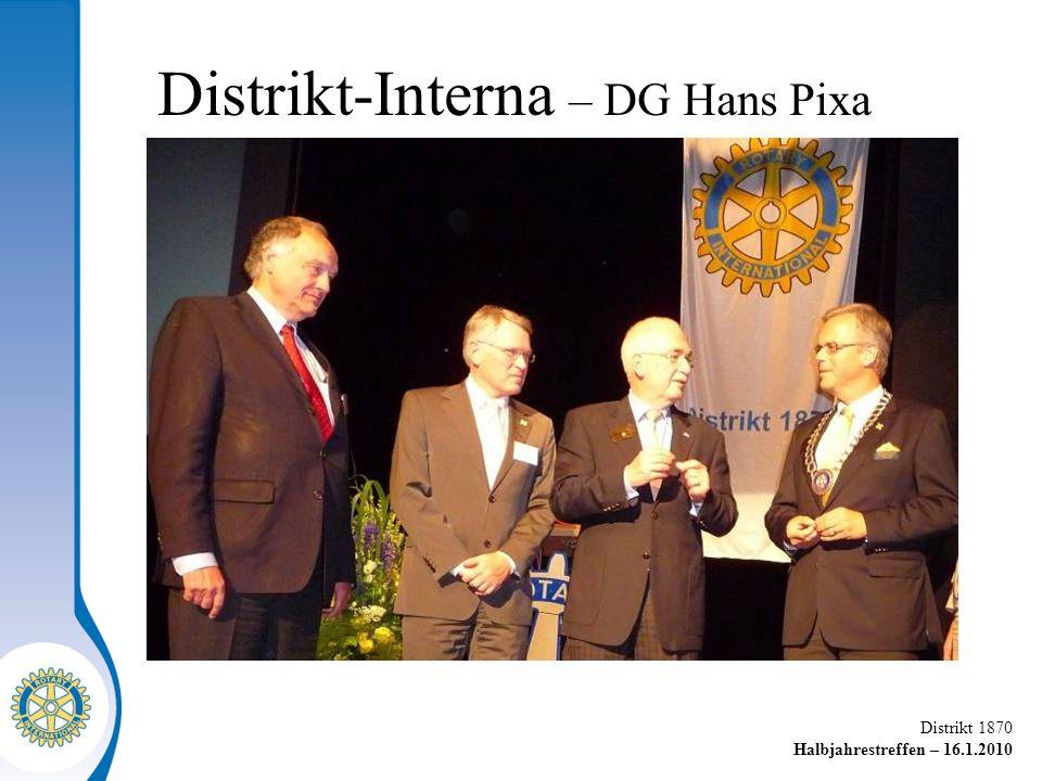 Distrikt 1870 Halbjahrestreffen – 16.1.2010 Distrikt-Interna – DG Hans Pixa
