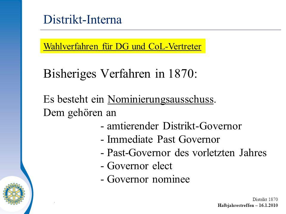 Distrikt 1870 Halbjahrestreffen – 16.1.2010 Bisheriges Verfahren in 1870: Es besteht ein Nominierungsausschuss. Dem gehören an - amtierender Distrikt-