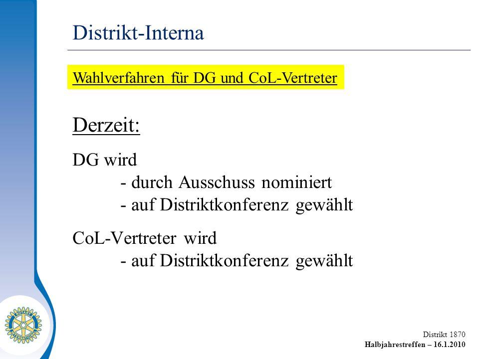 Distrikt 1870 Halbjahrestreffen – 16.1.2010 Derzeit: DG wird - durch Ausschuss nominiert - auf Distriktkonferenz gewählt CoL-Vertreter wird - auf Distriktkonferenz gewählt Distrikt-Interna Wahlverfahren für DG und CoL-Vertreter