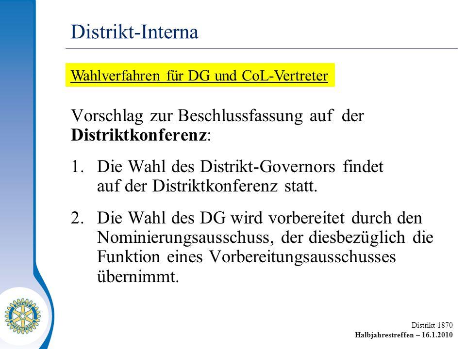 Distrikt 1870 Halbjahrestreffen – 16.1.2010 Vorschlag zur Beschlussfassung auf der Distriktkonferenz: 1.Die Wahl des Distrikt-Governors findet auf der Distriktkonferenz statt.