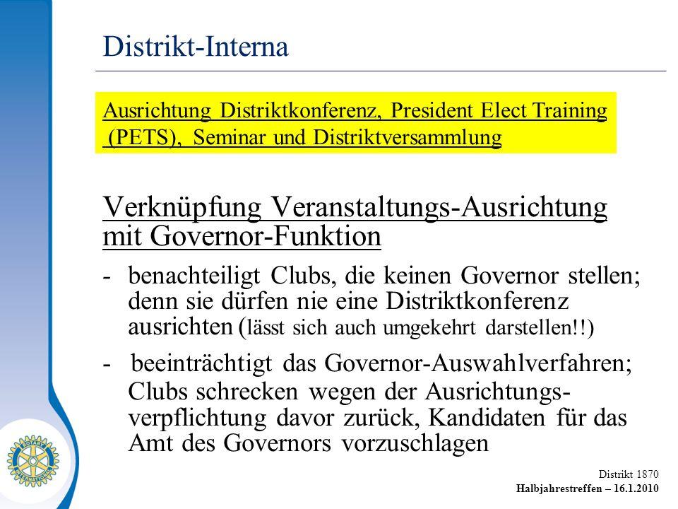 Distrikt 1870 Halbjahrestreffen – 16.1.2010 Verknüpfung Veranstaltungs-Ausrichtung mit Governor-Funktion -benachteiligt Clubs, die keinen Governor ste