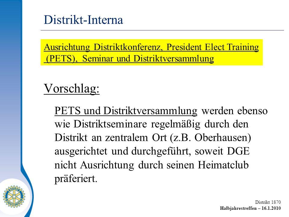 Distrikt 1870 Halbjahrestreffen – 16.1.2010 Vorschlag: PETS und Distriktversammlung werden ebenso wie Distriktseminare regelmäßig durch den Distrikt an zentralem Ort (z.B.
