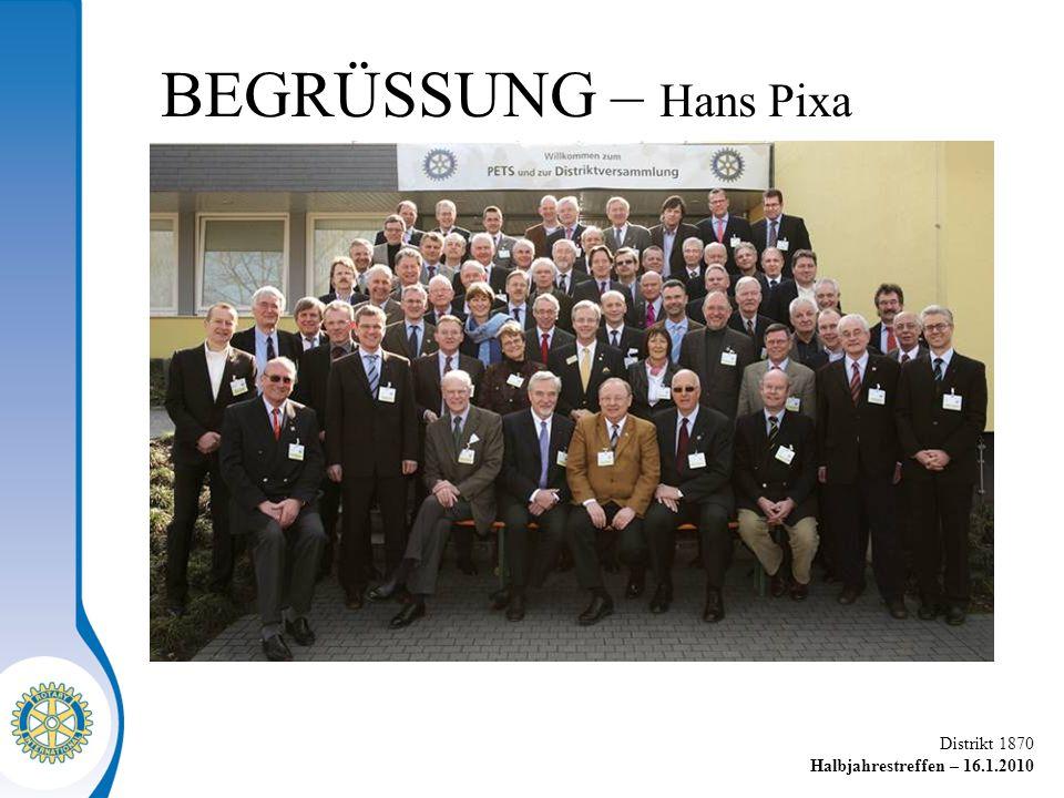 Distrikt 1870 Halbjahrestreffen – 16.1.2010 BEGRÜSSUNG – Hans Pixa
