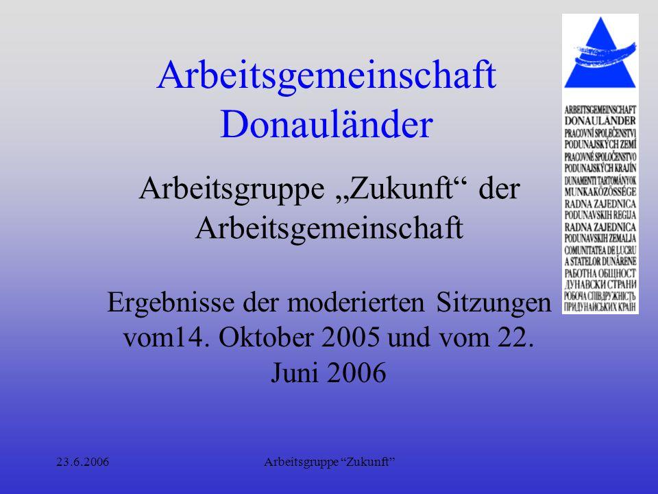 23.6.2006Arbeitsgruppe Zukunft Arbeitsgemeinschaft Donauländer Sitzung vom Oktober 2005 –Donaubewusstsein in den Mikroregionen –Mikroregion ist Korridor auf beiden Seiten der Donau von ca.