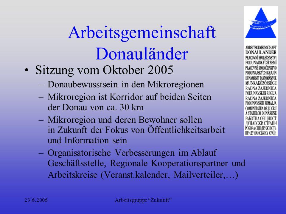 23.6.2006Arbeitsgruppe Zukunft Arbeitsgemeinschaft Donauländer Sitzung vom 22.