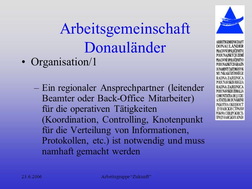 23.6.2006Arbeitsgruppe Zukunft Arbeitsgemeinschaft Donauländer Organisation / 2 –Protokolle (aller Gremien, aber vor allem der Arbeitskreise) sind in Zukunft strukturiert (Musterformular) und Beschlussprotokolle, Projektbeschrei- bungen, Finanzierungspläne etc.