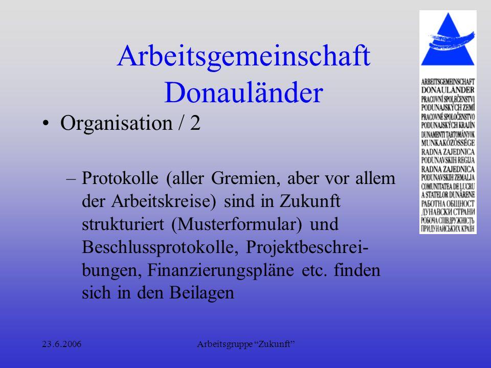 23.6.2006Arbeitsgruppe Zukunft Arbeitsgemeinschaft Donauländer Arbeit der Arbeitskreise / 1 –Ziel(e) formulieren –Ideen sammeln, aufgrund Kriterien zu bewerten und zu reihen –Programmschwerpunkte definieren –Arbeitspakete definieren und verteilen