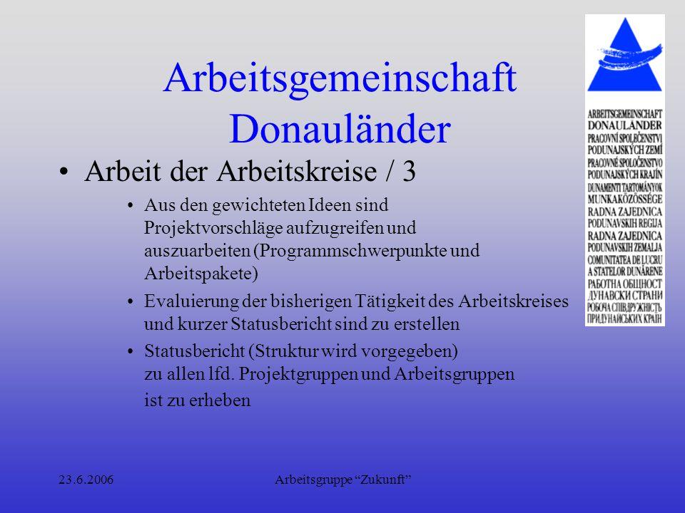 23.6.2006Arbeitsgruppe Zukunft Arbeitsgemeinschaft Donauländer Motivationsgründe für die Mitglieder –Marketing – sichtbar und unterscheidbar zu anderen Organisationen im Donauraum werden.