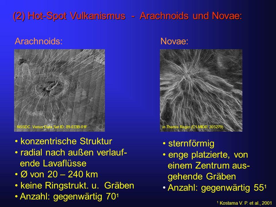 (2) Hot-Spot Vulkanismus - Arachnoids und Novae: Arachnoids: konzentrische Struktur radial nach außen verlauf- ende Lavaflüsse Ø von 20 – 240 km keine Ringstrukt.