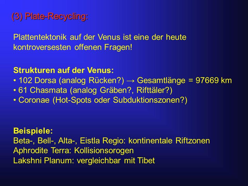 (3) Plate-Recycling: Plattentektonik auf der Venus ist eine der heute kontroversesten offenen Fragen.