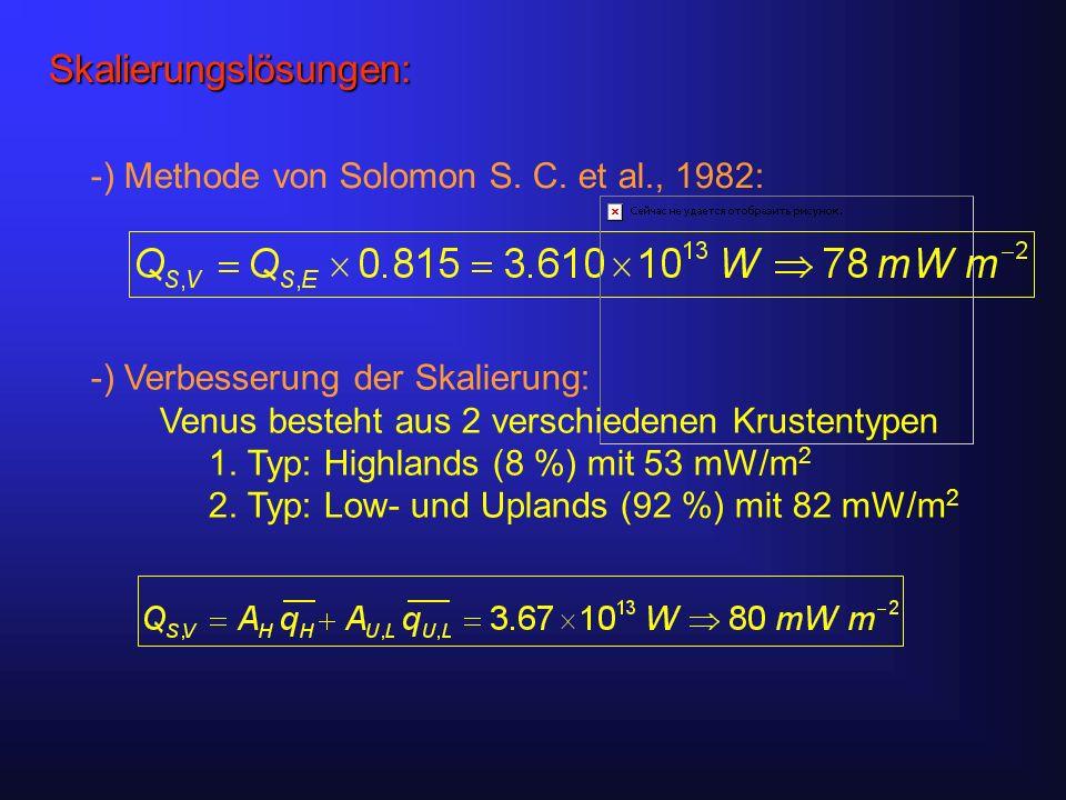 Standardmodell für Venus-Resurfacing: Episodisches Resurfacing mit Plattenrecycling als primären Mechanismus letztes Event vor 500 ± 200 Myr, seitdem nur mehr Wärmeleitung als aktiver Mechanismus Wärmeleitung reicht nicht aus um die vorhandene Wärme abzuleiten das Innere heizt sich immer weiter auf, bis ein Grenzwert überschritten wird neues Resurfacing-Event Turcotte D.