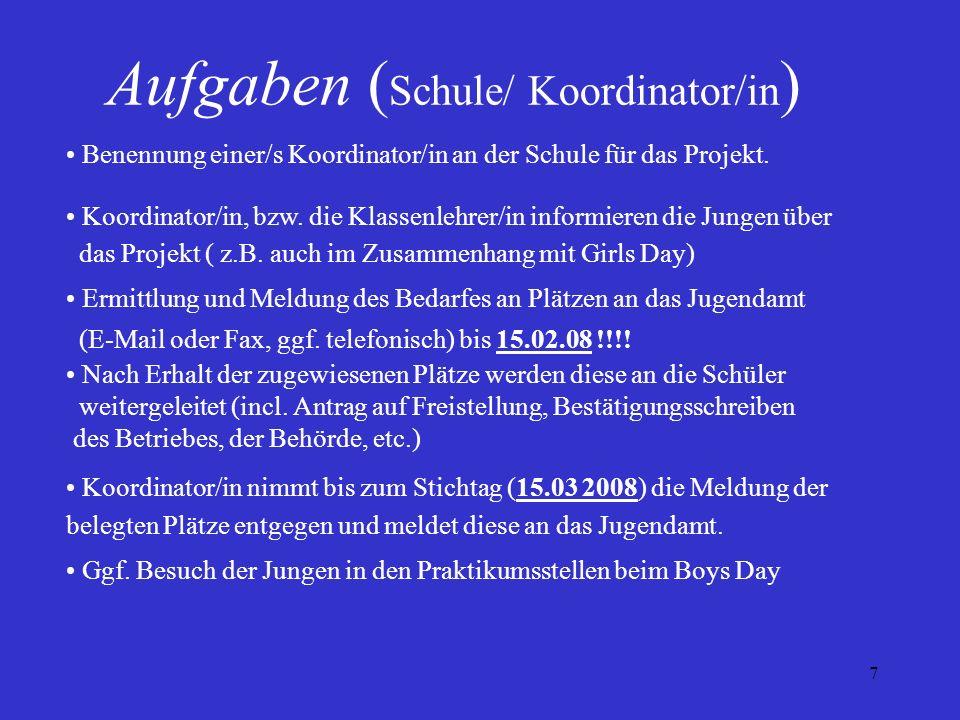 7 Aufgaben ( Schule/ Koordinator/in ) Benennung einer/s Koordinator/in an der Schule für das Projekt. Koordinator/in, bzw. die Klassenlehrer/in inform