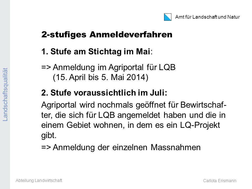 Carlota Erismann Amt für Landschaft und Natur Landschaftsqualität 2-stufiges Anmeldeverfahren 1.