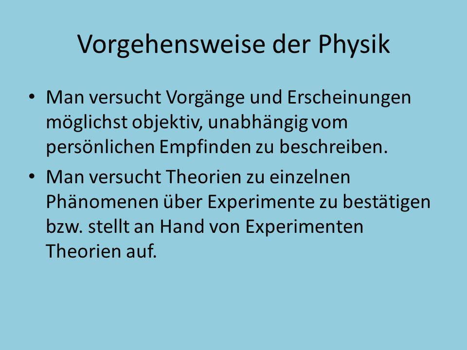 Vorgehensweise der Physik Man versucht Vorgänge und Erscheinungen möglichst objektiv, unabhängig vom persönlichen Empfinden zu beschreiben. Man versuc