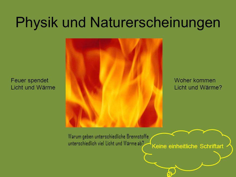 Physik und Naturerscheinungen Feuer spendet Licht und Wärme Woher kommen Licht und Wärme? Warum geben unterschiedliche Brennstoffe unterschiedlich vie
