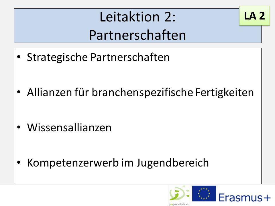 Leitaktion 2: Partnerschaften Strategische Partnerschaften Allianzen für branchenspezifische Fertigkeiten Wissensallianzen Kompetenzerwerb im Jugendbereich LA 2