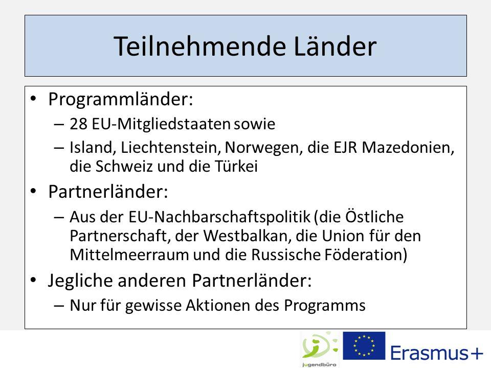 Teilnehmende Länder Programmländer: – 28 EU-Mitgliedstaaten sowie – Island, Liechtenstein, Norwegen, die EJR Mazedonien, die Schweiz und die Türkei Partnerländer: – Aus der EU-Nachbarschaftspolitik (die Östliche Partnerschaft, der Westbalkan, die Union für den Mittelmeerraum und die Russische Föderation) Jegliche anderen Partnerländer: – Nur für gewisse Aktionen des Programms