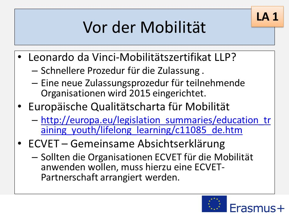 Vor der Mobilität Leonardo da Vinci-Mobilitätszertifikat LLP.