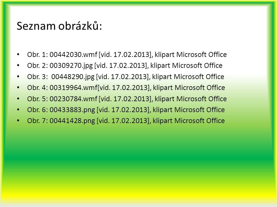 Seznam obrázků: Obr. 1: 00442030.wmf [vid. 17.02.2013], klipart Microsoft Office Obr. 2: 00309270.jpg [vid. 17.02.2013], klipart Microsoft Office Obr.