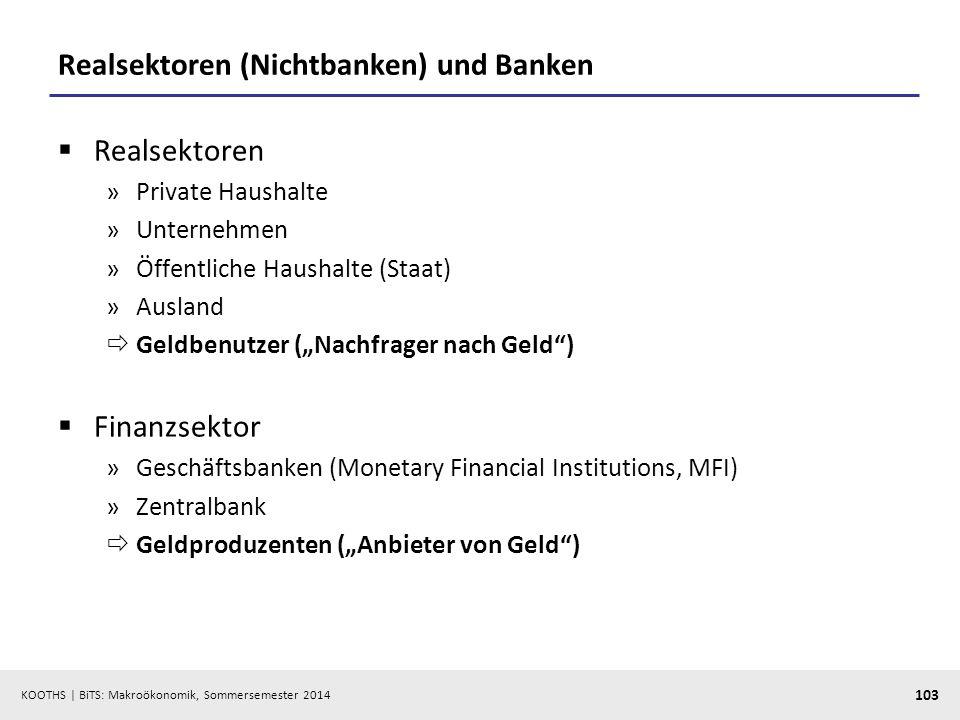 KOOTHS | BiTS: Makroökonomik, Sommersemester 2014 103 Realsektoren (Nichtbanken) und Banken Realsektoren »Private Haushalte »Unternehmen »Öffentliche