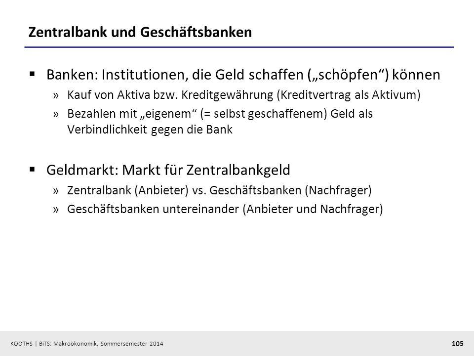 KOOTHS | BiTS: Makroökonomik, Sommersemester 2014 105 Zentralbank und Geschäftsbanken Banken: Institutionen, die Geld schaffen (schöpfen) können »Kauf