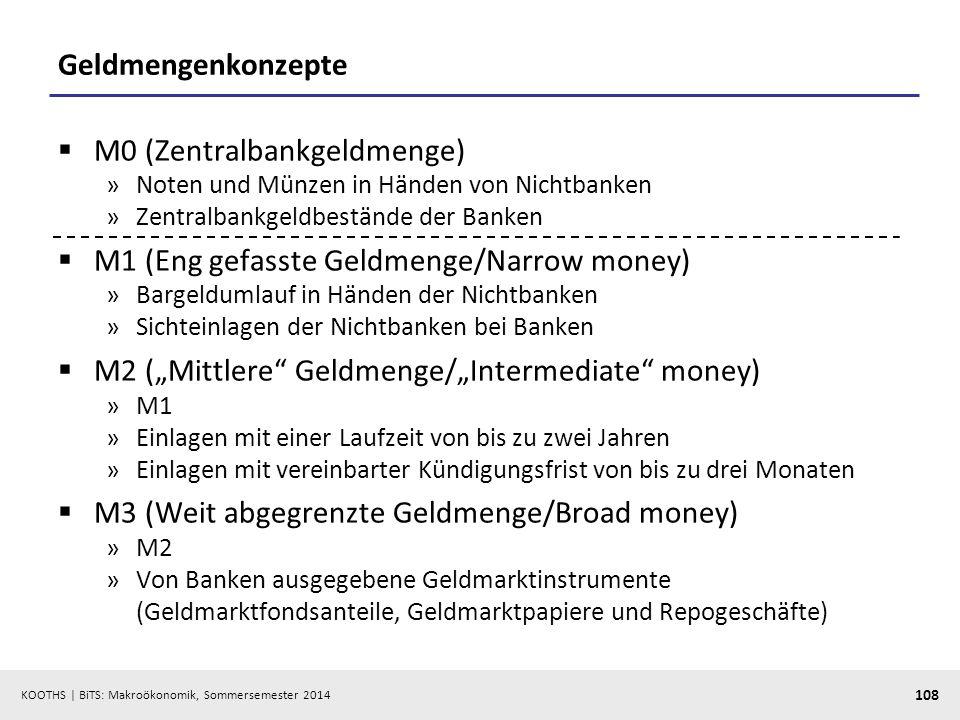 KOOTHS | BiTS: Makroökonomik, Sommersemester 2014 108 Geldmengenkonzepte M0 (Zentralbankgeldmenge) »Noten und Münzen in Händen von Nichtbanken »Zentra