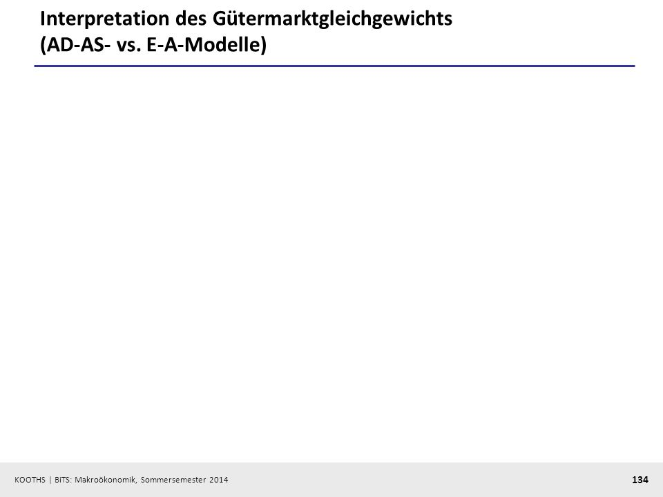 KOOTHS | BiTS: Makroökonomik, Sommersemester 2014 134 Interpretation des Gütermarktgleichgewichts (AD-AS- vs. E-A-Modelle)