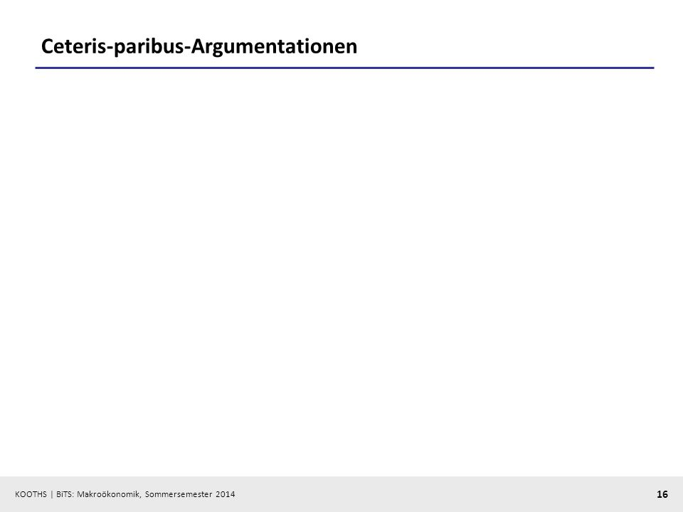 KOOTHS | BiTS: Makroökonomik, Sommersemester 2014 16 Ceteris-paribus-Argumentationen