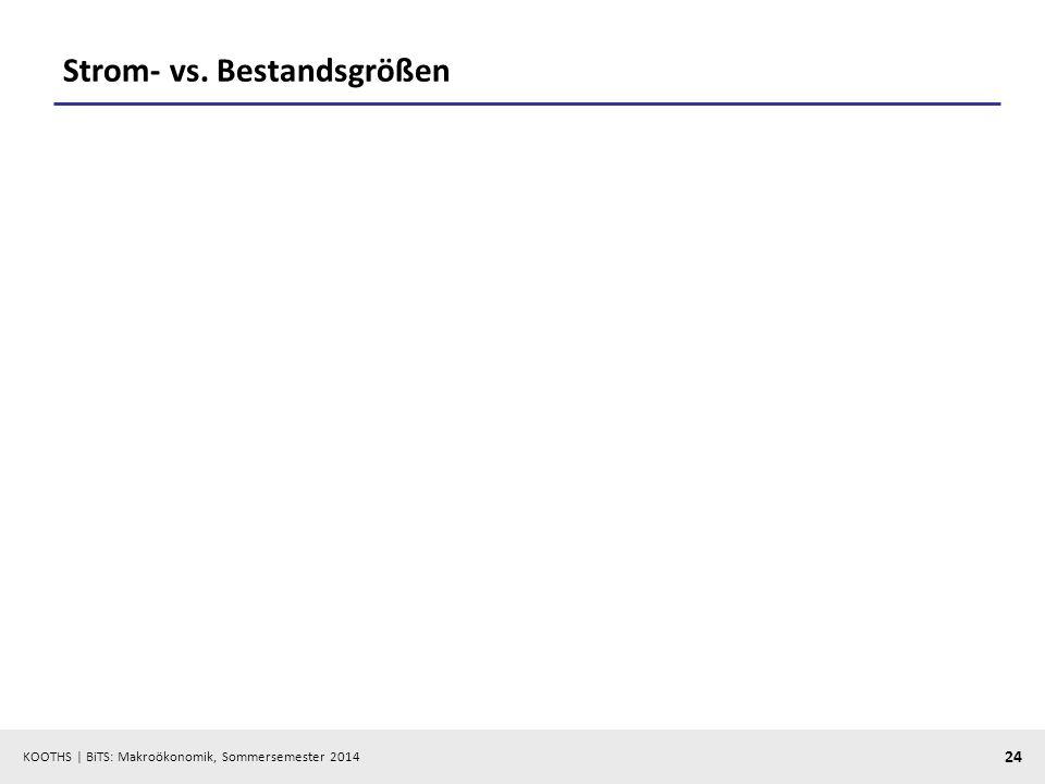 KOOTHS | BiTS: Makroökonomik, Sommersemester 2014 24 Strom- vs. Bestandsgrößen