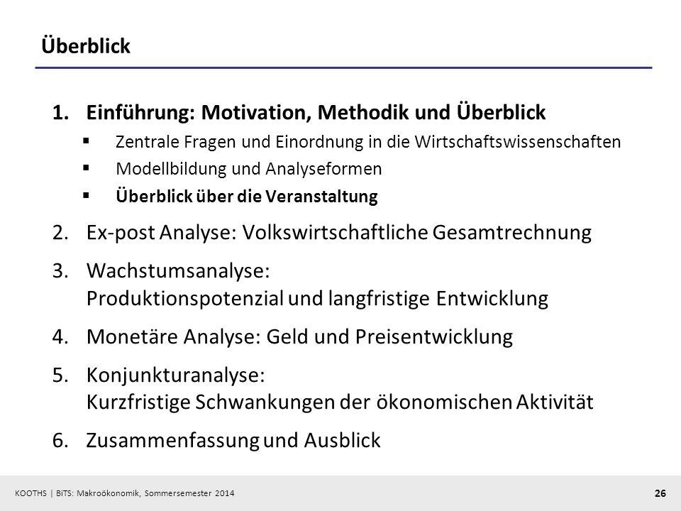 KOOTHS | BiTS: Makroökonomik, Sommersemester 2014 26 Überblick 1.Einführung: Motivation, Methodik und Überblick Zentrale Fragen und Einordnung in die