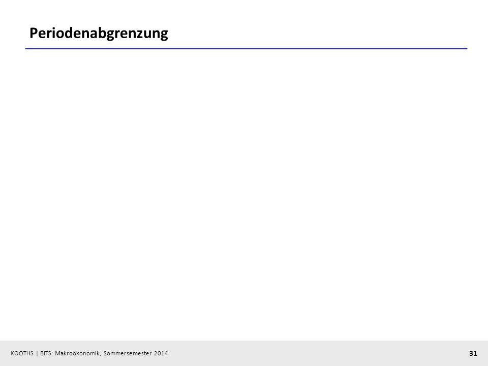 KOOTHS | BiTS: Makroökonomik, Sommersemester 2014 31 Periodenabgrenzung