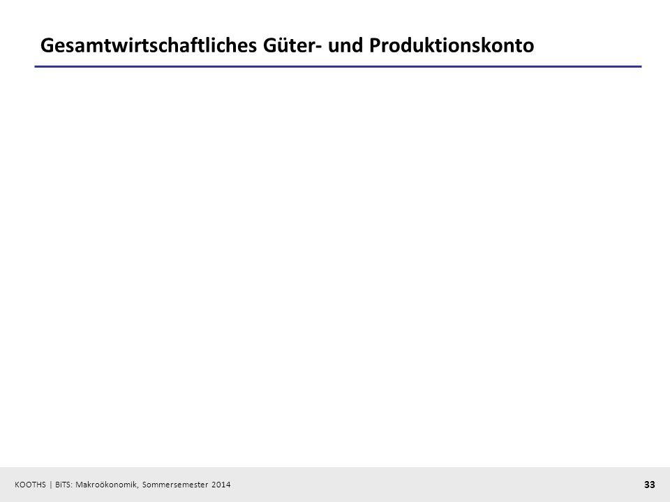 KOOTHS | BiTS: Makroökonomik, Sommersemester 2014 33 Gesamtwirtschaftliches Güter- und Produktionskonto