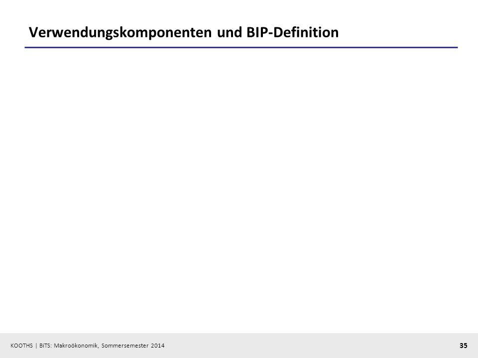 KOOTHS | BiTS: Makroökonomik, Sommersemester 2014 35 Verwendungskomponenten und BIP-Definition