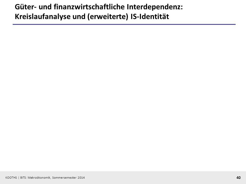 KOOTHS | BiTS: Makroökonomik, Sommersemester 2014 40 Güter- und finanzwirtschaftliche Interdependenz: Kreislaufanalyse und (erweiterte) IS-Identität