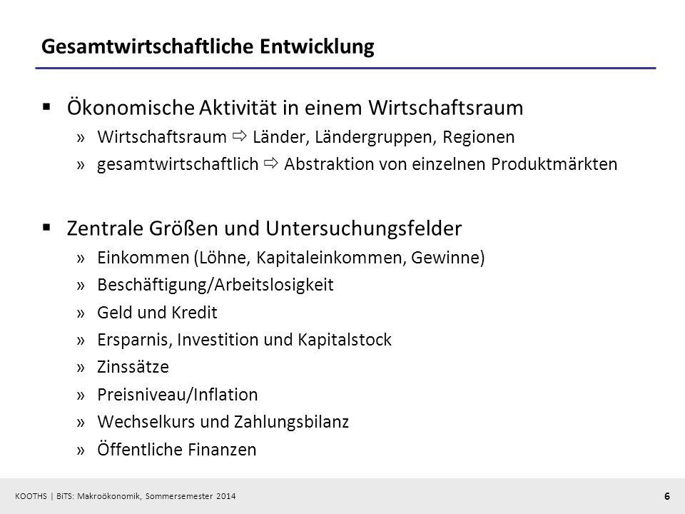 KOOTHS   BiTS: Makroökonomik, Sommersemester 2014 7 Makroökonomik als Grundlage für Diagnose, Prognose und Stabilisierungspolitik (magisches Viereck) Stabilitäts- und Wachstumsgesetz (StabG, 8.