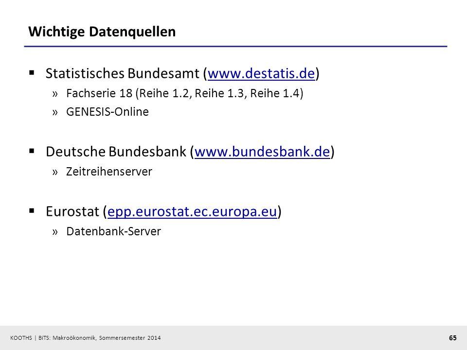 KOOTHS | BiTS: Makroökonomik, Sommersemester 2014 65 Wichtige Datenquellen Statistisches Bundesamt (www.destatis.de)www.destatis.de »Fachserie 18 (Rei