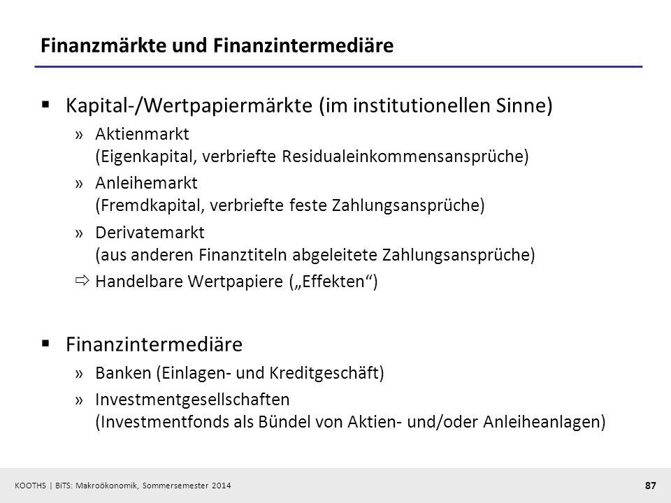 KOOTHS | BiTS: Makroökonomik, Sommersemester 2014 87 Finanzmärkte und Finanzintermediäre Kapital-/Wertpapiermärkte (im institutionellen Sinne) »Aktien
