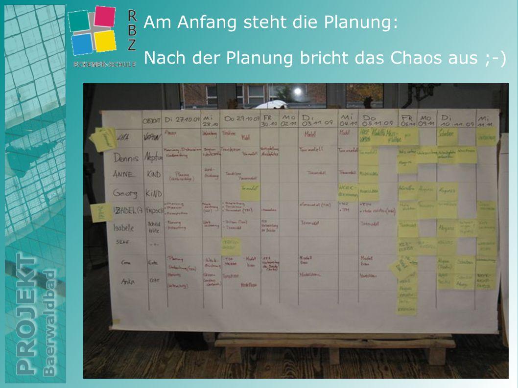 Am Anfang steht die Planung: Nach der Planung bricht das Chaos aus ;-)