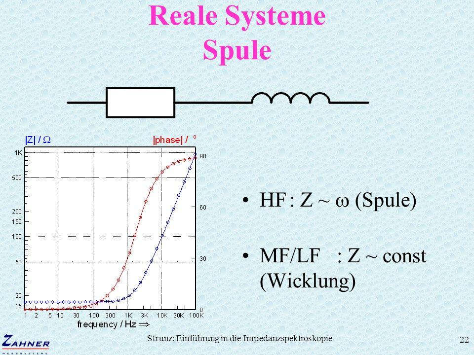 Strunz: Einführung in die Impedanzspektroskopie 22 Reale Systeme Spule HF: Z ~ (Spule) MF/LF: Z ~ const (Wicklung)