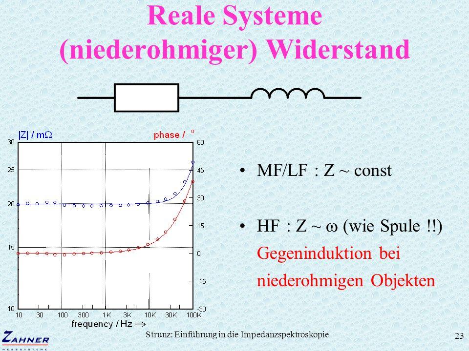 Strunz: Einführung in die Impedanzspektroskopie 23 Reale Systeme (niederohmiger) Widerstand MF/LF : Z ~ const HF: Z ~ (wie Spule !!) Gegeninduktion be