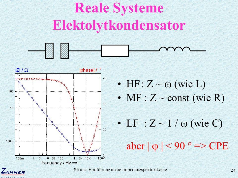 Strunz: Einführung in die Impedanzspektroskopie 24 Reale Systeme Elektolytkondensator HF: Z ~ (wie L) MF : Z ~ const (wie R) LF : Z ~ 1 / (wie C) aber