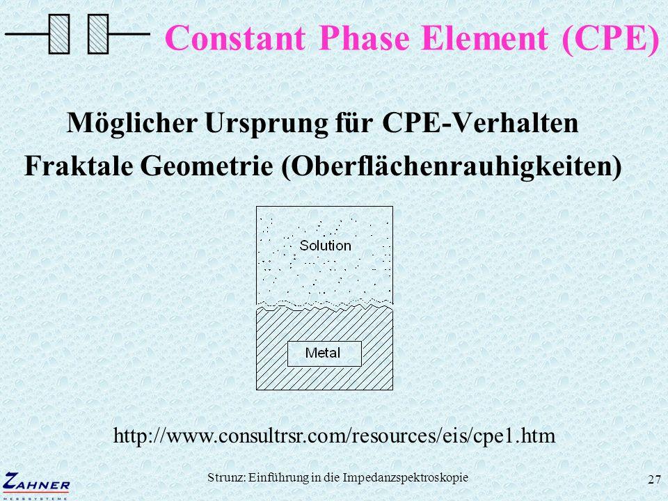 Strunz: Einführung in die Impedanzspektroskopie 27 Constant Phase Element (CPE) Möglicher Ursprung für CPE-Verhalten Fraktale Geometrie (Oberflächenra
