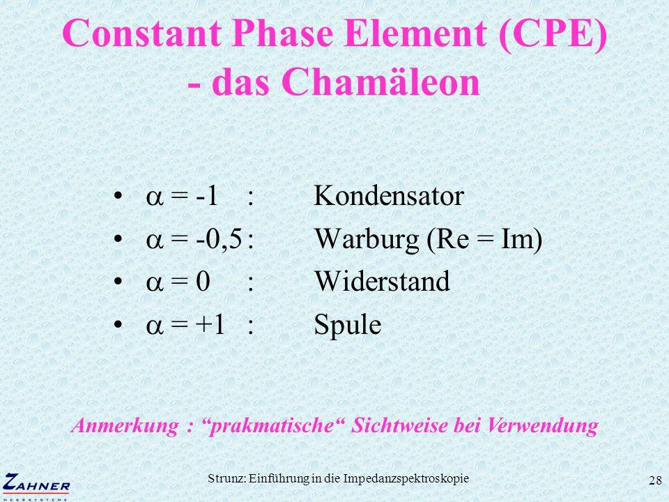 Strunz: Einführung in die Impedanzspektroskopie 28 Constant Phase Element (CPE) - das Chamäleon = -1:Kondensator = -0,5:Warburg (Re = Im) = 0:Widersta